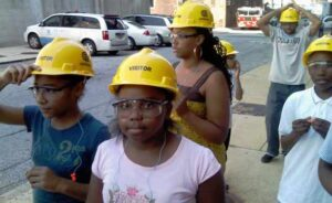 Young visitors on tour of a Con Ed steam plant.