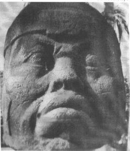 Front view: Tres Zapotes stone head