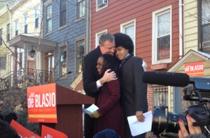 Public Advocate Bill de Blasio with his wife and son.
