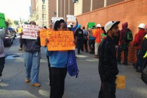 Local Construction workers protest outside Assemblyman Mosley's office