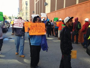 Protesters outside State Assemblyman  Walter Mosley's office.