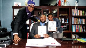 Pictured from left to right are City Councilman-elect Robert Cornegy, P.S. 308 Principal Dr. George Patterson and P.S. 308 PTA President Lawana King.
