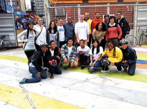 Velo City volunteers, staff and young participants at the former DeKalb Market in downtown Brooklyn.  Landscape architect and urban planner Karyn Williams is shown in the lower left corner.