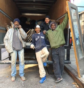 Moving on up: These gentlemen are four of a team of neighborhood volunteer handymen  and woodworkers, who bring salvaged architectural items back to new life at Eddie's, a popular Brooklyn antiques enterprise. Owner Eddie Hibbert recently sold the building located in Clinton Hill near the corner of Greene & Gates and will open a new establishment elsewhere. The men are sure to follow him, along with Mr. Hibbert's legions of loyal customers and friends.