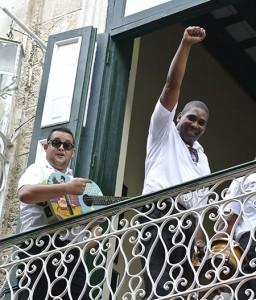 Two Musicians on a balcony in Cuba.