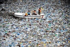 Plastic bottles and other garbage block a dam in Bulgaria. Such debris can make its way into oceans. Dimitar Dilkoff: AFP