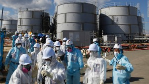 Workers at the Fukushima cleanup site.
