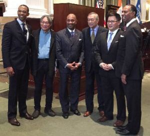 (L to R) Walter Mosely, New York Assembly (Brooklyn); Peter Kwong, Professor of Asian American studies and Urban Affairs, Hunter College; Michael Garner, President One Hundred Black Men of America; John Wang, President Asian American Business Development Center; Ron Kim, New York State Assembly- (Queens); and Rev. Jacques DeGraff, Associate Pastor of Canaan Baptist Church.