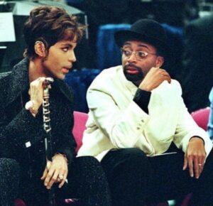 Super Talent Meeting: Prince Nelson Rogers and Spike Lee at an NBA game.