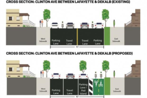 Envisioned  reconstruction of Clinton Avenue.