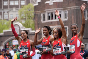 April 30, 2016 - Philadelphia, Pennsylvania, U.S - SANYA RICHARDS-ROSS, PHYLLIS FRANCIS, NATASHA HASTINGS, and DEEDEE TROTTER, of the USA in the winner's circle after winning the women;s 4x400 held at Franklin Field in Philadelphia Pa (Credit Image: © Ricky Fitchett via ZUMA Wire)