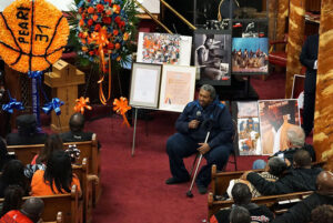 The public viewing was held at the Cornerstone Baptist Church in Brooklyn on Thursday April 28 for Syracuse University basketball legend Pearl Washington who passed away April 20. Pearl's former Boys & Girls H.S. assistant coach Eugene Carroll shared stories of the young Pearl. Stephen D. Cannerelli | scannerelli@syracuse.com
