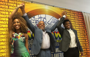 Berry Gordy, center, celebrates return to Broadway.