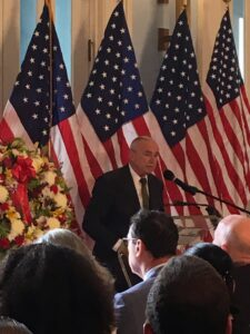 NYPD Commissioner Bill Bratton speaks compassionately about Ground Zero. Photo: Bernice Green