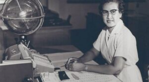 Nasa research mathematician Katherine Johnson at her desk at the Langley Research Center in 1966. Photograph: NASA