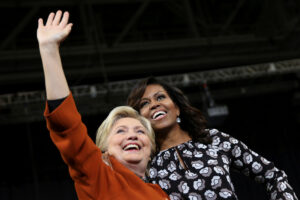 October 27, 2016 - Winston-Salem, North CArolina, UNITED STATES - U.S. Democratic presidential candidate Hillary Clinton arrives to a campaign rally accompanied by U.S. first lady Michelle Obama in Winston-Salem, North Carolina, U.S., October 27, 2016. REUTERS/Carlos Barria (Credit Image: © Carlos Barria/Reuters via ZUMA Press)
