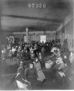 Recently arrived persons at Ellis Island, N.Y., Library of Congress