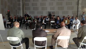 Potential contractors at outreach event for downtown Brooklyn project.