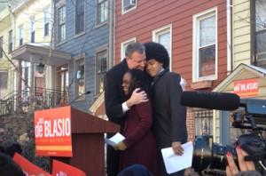 Public Advocate Bill de Blasio with his wife and son.