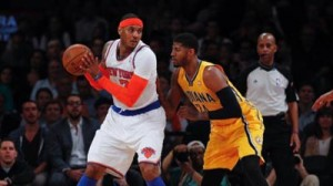 Carmelo Anthony has the ball in Knicks Pacers Game 3.