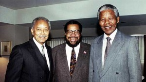 New York City political consultant Bill Lynch (center) with former  Mayor David Dinkins and beloved South African world leader Nelson Mandela.  Bill Lynch Associates