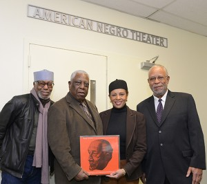 "A Bow to Baraka: The kick-off of the Woodie King Jr. and the New Federal Theatre's Kickstarter campaign for the production of Amiri Baraka's final play ""The Most Dangerous Man in America"" (WEB DuBois), on its way to a world premiere May 28.  The launch event  was aptly held at the original site of the American Negro Theater—the Schomburg Center's basement in Harlem.  ANT, the historic theatrical training ground for Ruby Dee, Ossie Davis, Harry Belafonte and Sidney Poitier, began its performances at the Harlem library in the 1940's under the direction of writer Abram Hill and actor Frederick O'Neal.  ANT began its Studio Theatre training program for beginning actors. On January 15, Martin Luther King's birthday, theater icon Woodie King gathered Danny Glover, Ralph Carter, Petronia Paley and Art MacFarland to announce an unique fund-raiser to underwrite Baraka's last play. To aid New Federal Theatre in producing Baraka's drama about W.E.B. DuBois, the Kickstarter auction features rare African American theatrical books, audios, posters and fine art spotlighting W.E.B. DuBois, Maya Angelou, Ntozake Shange, Langston Hughes, Amiri Baraka and more.    Helming the NFT's Kickstarter and Amiri Baraka awareness projects is Woodie King, Jr, (second from left), seen here with journalist/scholar Herb Boyd, far left, and actors Petronia Paley and Art McFarland, who will portray, respectively, Shirley Graham DuBois and WEB DuBois.    Photo credit: Barry L. Mason"