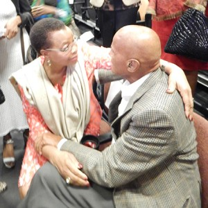 Graca Machal, one of the world's most respected leaders, embraces human rights activist and cultural icon Harry Belafonte, at My Image Studios in Harlem