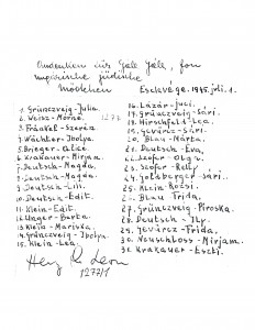 The back of the photo with the survivors' names, and their thank you note presented at the time to Mr. Golub.