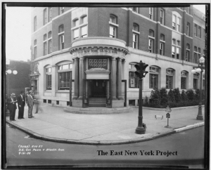 ENY Savings Bank Headquarters, 2644 Atlantic Avenue, stood at the southeast corner of Pennsylvania and Atlantic Aves. It operated from 1868 to 1967. (picture from circa 1938-East New York Project)
