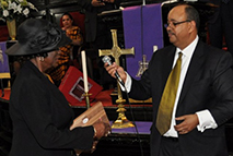 Anne Brunson receiving The Church and Community Award