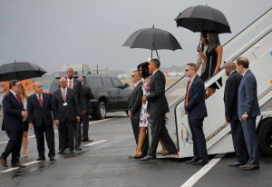 First Family steps foot on tarmac in Cuba.