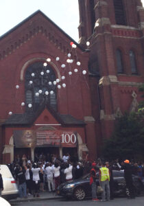 33 balloons were let loose at Ronald Edgar McPhatter's funeral service in Brooklyn.