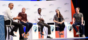 At the Global Entrepreneurship Summit, President Obama conversed with young entrepreneurs (l-r) Mai Medhat from Egypt, Jean Bosco Nzeyimana from Rwanda, Mariana Costa Checa from Peru and Facebook founder and CEO Mark Zuckerberg about what governments can do to make things easier for people who want to build companies. (Image credit: L.A. Cicero)
