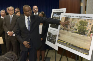 DA Ken Thompson explains the scene of the crime to reporters.