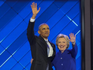 July 27, 2016 - Philadelphia, Pennsylvania, U.S - President BARACK OBAMA and HILLARY CLINTON on the stage at the Democratic National Convention. (Credit Image: � Mark Reinstein via ZUMA Wire)