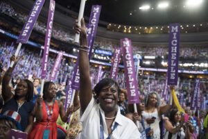 July 25, 2016 - Philadelphia, PA, United States - UNITED PAS - JULY 25: Pennsylvania delegate Cherelle Parker cheers for Michelle Obama on the floor of the Wells Fargo Center in Philadelphia, Pa., on the first day of the Democratic National Convention, July 25, 2016. (Photo By Tom Williams/CQ Roll Call) (Credit Image: © Tom Williams/Congressional Quarterly/Newscom via ZUMA Press)