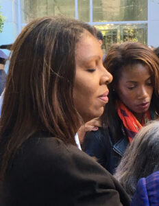Words' Worth: Comments by New York City Public Advocate Letitia James (left) at yesterday's prayer vigil for Brooklyn D.A. Kenneth Thompson were a source of comfort to Mr. Thompson's Press Secretary, lawyer/journalist Charisma L. Troiano (right). (Photo: Bernice Green)