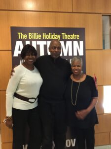 Writer Audrey Edwards with playwright Richard Wesley and his wife, author Valerie Wilson Wesley