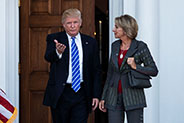 President Donald Trump with Ms. Betsy DeVos, his choice to head the US Department of Education.