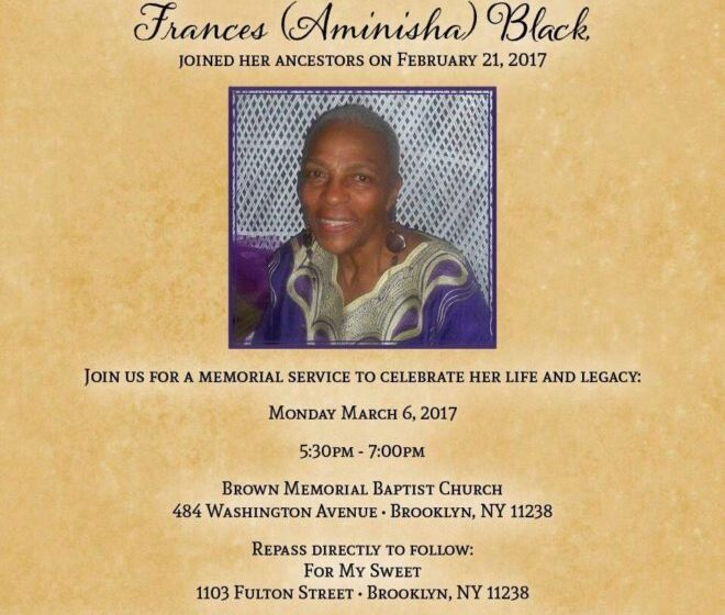 Our Loss Is The Ancestors' Gain:   Aminisha Black – Gifted Nurturer and Cultural Creative