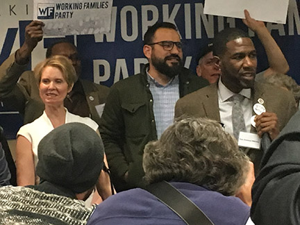 Set for the City, State and 2018, Jumaane Williams & Cynthia Nixon Accept the Endorsement of the Working Families Party  for Lt. Governor & Gubernatorial Run