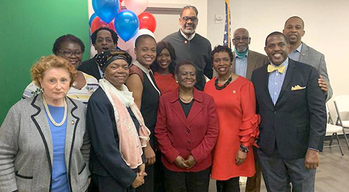 Assembly member Jo Anne Simon, State Senator Roxanne Persaud, (unidentified), State Senator Velmanette Montgomery, Assembly member Tremaine Wright, Assembly member Diana Richardson_, Former Assembly Member Annette Robinson, Councilman Robrt Cornegy, Rep. Yvette Clarke, Former Assembly and Council member Al Vann, State Senators Kevin Parker and Walter Mosley.