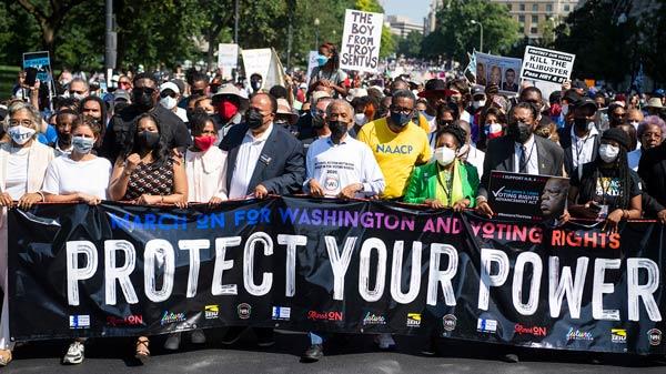 MLK Jr's Family, Sharpton Address Voting Rights, Filibuster at Washington March